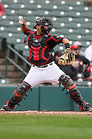 Catcher Juan Centeno (59) of the Rochester Red Wings throws to second base against the Scranton Wilkes-Barre Railriders on May 1, 2016 at Frontier Field in Rochester, New York. Red Wings won 1-0.  (Christopher Cecere/Four Seam Images)