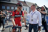 Race co-organiser/Roubaix-Flanders-legend Peter Van Petegem welcomes Thor Hushovd (NOR/BMC) to his farewell race <br /> <br /> GP Impanis 2014