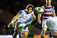 Maxime Machenaud of Racing 92 box-kicks the ball. European Rugby Champions Cup match, between Leicester Tigers and Racing 92 on October 23, 2016 at Welford Road in Leicester, England. Photo by: Patrick Khachfe / JMP