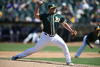 OAKLAND, CA - SEPTEMBER 10:  J.B. Wendelken #64 of the Oakland Athletics pitches against the Seattle Mariners during the game at the Oakland Coliseum on Saturday, September 10, 2016 in Oakland, California. Photo by Brad Mangin