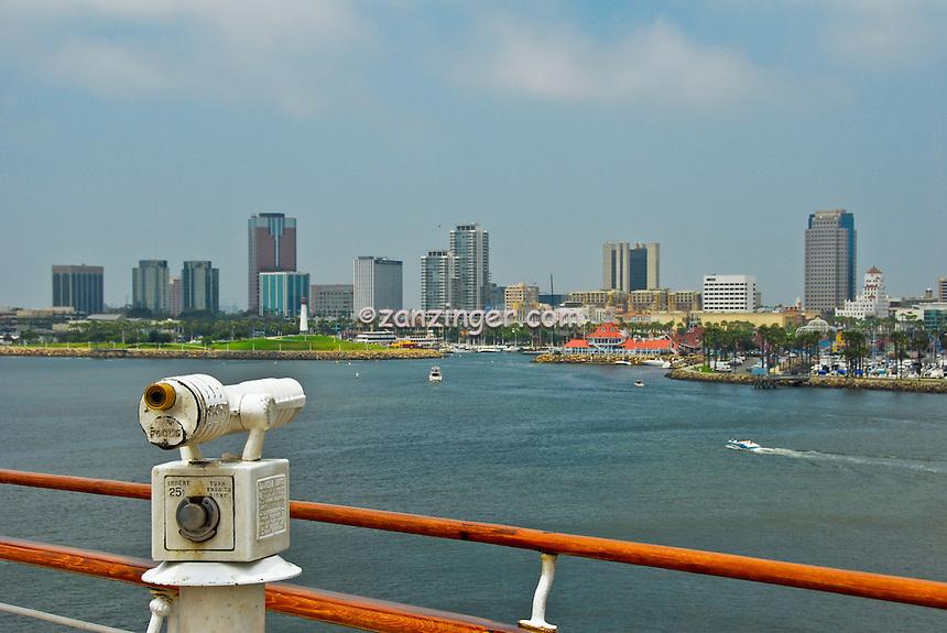 RMS Queen Mary, retired ocean liner, Cruise ship, Telescope, Hotel, Long Beach, Skyline, CA, California, USA