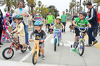 Children ride bikes at the new  Bicycle Campus  at Santa Monica Beach on  Earth Day,  Sunday, April 22, 2012.