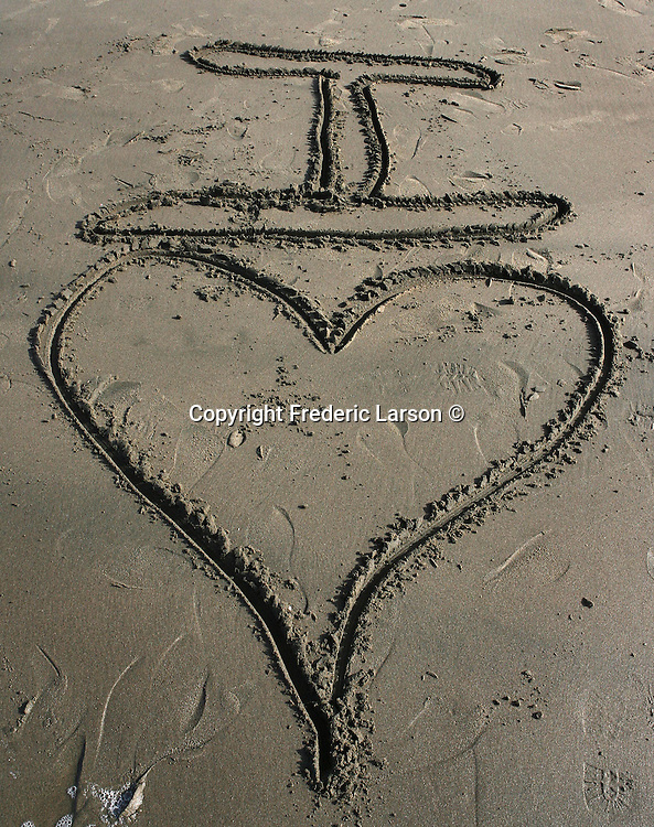 A message was written in the sand on Ocean Beach in San Francisco, California.