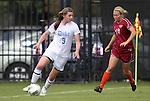 02 October 2011: Duke's Kelly Cobb (9) and Virginia Tech's Anne Lumpkin (16). The Duke University Blue Devils defeated the Virginia Tech Hokies 1-0 at Koskinen Stadium in Durham, North Carolina in an NCAA Division I Women's Soccer game.