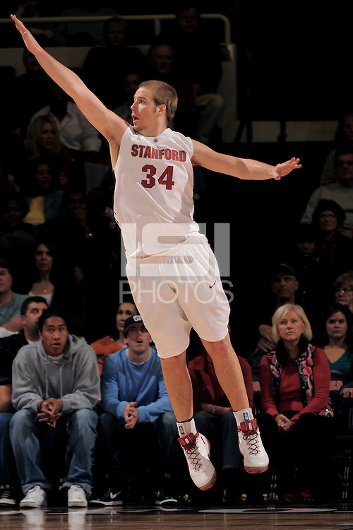 Stanford, CA - DECEMBER 28:  Center Will Paul #34 of the Stanford Cardinal during Stanford's 111-66 win against the Texas Tech Red Raiders on December 28, 2008 at Maples Pavilion in Stanford, California.