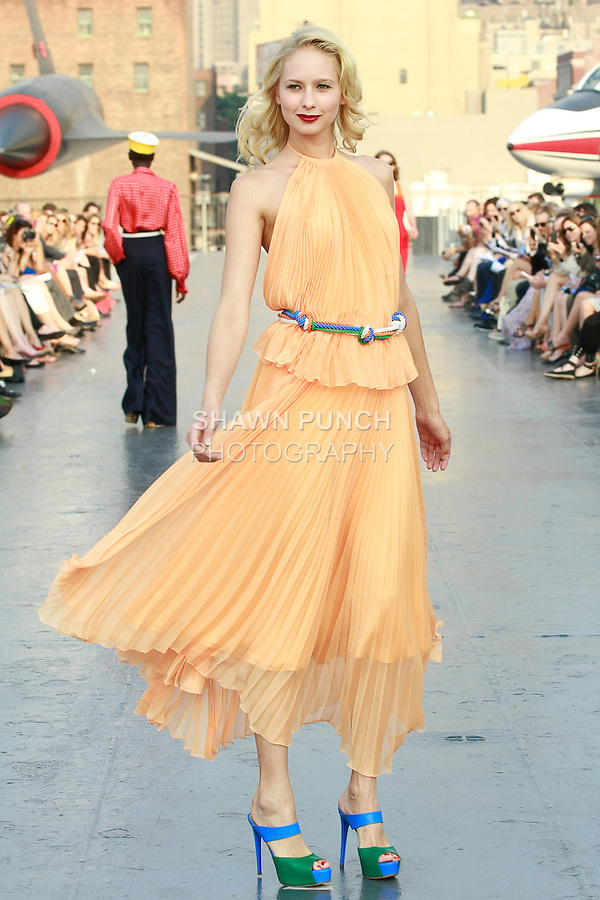 Nadezha walks runway in a Douglas Hannant Resort 2012 outfit, on the USS Intrepid, June 7, 2011.