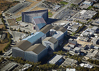 aerial photograph wind tunnel, Moffett Field, Mountain View San Clara county, California