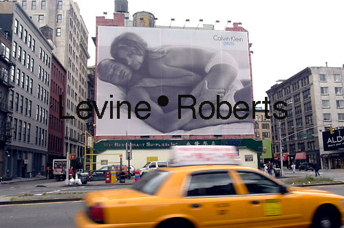 A Calvin Klein billboard in Soho in NYC on Sept. 13, 2006.  Klein's advertisements use sex and provocative images to test society's cultural and moral boundries. (© Richard B. Levine)