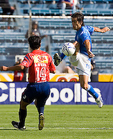Cruz Azul forward Cesar Delgado (R) fights for the ball against Veracruz Tiburones midfielder Omar Rivera during their soccer match in the Azul Stadium in Mexico City, April 8, 2006. Cruz Azul won 3-0 to Veracruz... Photo by © Javier Rodriguez