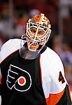 15 November 2008:  Philadelphia Flyers' goaltender Martin Biron warms up prior to facing the Montreal Canadiens in their first meeting in Montreal since the Flyers knocked the Canadiens out of the playoffs last season. The Canadiens, celebrating their 100th season, fell to the visiting Flyers 2-1 at the Bell Centre in Montreal, Quebec, Canada. ***Editorial Sales Only***..Mandatory Photo Credit: Ed Wolfstein Photo *** Editorial Sales through Icon Sports Media *** www.iconsportsmedia.com