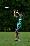 24 May 2014: The Vermont Commons School players warm up prior to competing in the Vermont High Schools, VYUL State Ultimate Disk Championships at the Tree Farm Recreational Facility in Essex Junction, Vermont. Mandatory Credit: Ed Wolfstein Photo