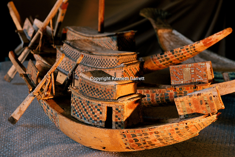 Wooden models of boats for the symbolic transportation of the king and the sun god through the sky of the underworld, Tutankhamnun, New Kingdom