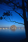 Sunrise with sailboats moored in bay with Morro Rock Morro Bay California USA.