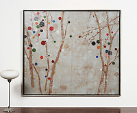 "Hyun: Cherry Blossom 0902, Digital Print, 52.5"" x 60.5"" x 2"", Silver Leaf Float Frame"