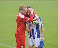 VOETBAL: WOLVEGA: 03-05-2015, FC FC Wolvega - VV Heerenveen, uitslag 0-0, Gerwin de Groot (#1), Thom van Lingen (#9), ©foto Martin de Jong