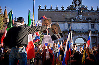 Roma 3 Ottobre 2015<br /> Manifestazione a sostegno del Presidente russo Putin, a  Piazzale Flaminio,  &ldquo;Io sto con Putin&quot; , per sconfiggere il terrorismo islamico, per fermare la crisi migratoria, per ritrovare la sovranit&agrave;&rdquo;. I manifestanti chiedono anche l&rsquo;immediata rimozione delle sanzioni alla Russia. La manifestazione &egrave; organizzata dal Comitato Italia-Russia e dal Vladimir Putin Italian Fan Club.<br /> Rome, October 3, 2015<br /> Rally in support of Russian President Putin, Piazzale Flaminio, &quot;I'm with Putin&quot;, to defeat Islamic terrorism, to stop the migration crisis, to regain sovereignty.The protesters are also demanding the immediate removal of sanctions on Russia.The event is organized by the committee Italy-Russia,  and  from Vladimir Putin the Italian Fan Club.
