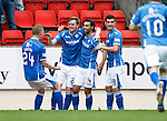 St Johnstone v Dundee United...26.09.15  SPFL   McDiarmid Park, Perth<br /> Simon Lappin celebrates his goal with Liam Craig, Graham Cummins and Brian Easton<br /> Picture by Graeme Hart.<br /> Copyright Perthshire Picture Agency<br /> Tel: 01738 623350  Mobile: 07990 594431