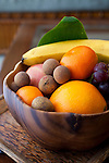 The Four Seasons Resort Hualalai at Historic Kaupulehu on the Big Island of Hawaii. Island fruit in the room.
