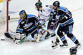 Ben Bishop (University of Maine - Des Peres, MO), Tim Crowder (Michigan State - Victoria, BC)Matt Duffy (University of Maine - Windham, ME) - The Michigan State Spartans defeated the University of Maine Black Bears 4-2 in their 2007 Frozen Four semi-final on Thursday, April 5, 2007, at the Scottrade Center in St. Louis, Missouri.