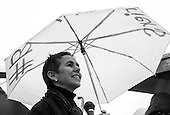 Serra Sippel, president of the Center for Health and Gender Equity addresses participants at a rally calling on president Obama to ensure that the U.S. is a leader in providing comprehensive, post-rape care, including safe abortion services, to survivors of sexual violence in front of the White House in Washington, DC. <br /> PHOTOS/John Nelson