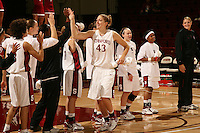 9 November 2006: Kristen Newlin high fives Cissy Pierce, Christy Titchenal, Candice Wiggins, JJ Hones, Claire Bodensteiner, Markisha Coleman and Jayne Appel during Stanford's 88-61 win in the first round of the preseason Women's National Invitation Tournament against Loyola Marymount at Maples Pavilion in Stanford, CA.