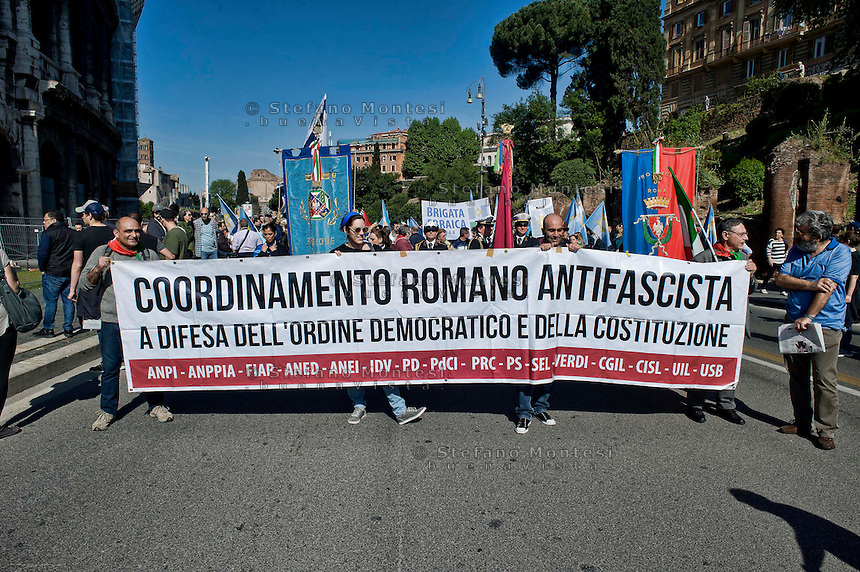 Roma 25 Aprile 2014<br /> Manifestazione per il 69&deg; anniversario della liberazione dal Nazifascismo<br /> Roma 25 April 2014. <br /> Demonstration for the 69th anniversary of liberation from Nazi-fascism