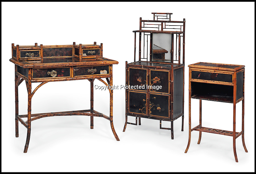 BNPS.co.uk (01202 558833)<br /> Pic: Christie's/BNPS<br /> <br /> ***Please use full byline***<br /> <br /> A group of late Victorian bamboo and Japanned furniture.<br /> <br /> An interior designer to the stars is selling virtually the entire contents of her multi-million pounds London apartment that she is moving out of.<br /> <br /> Tessa Kennedy's client list for home makeovers has included Elizabeth Taylor, George Harrison and Pierce Brosnan as well as famous hotels like the Ritz and Claridges.<br /> <br /> During her jet-set career, she acquired opulent pieces of furniture, art work and ornaments from around the world that she filled her town and country residence with.<br /> <br /> Now aged 75, Miss Kennedy no longer requires her three-bed Knightsbridge flat and is auctioning off most of its contents in a unique sale at Christie's.