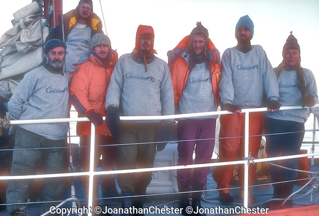 Australian Bicentennial Antarctic Expedition<br /> With the AVT beset in the pack ice we take sponsors photos in case we don't get to Antarctica. (Feb 18th 1988) Greg Mortimer,Lyle Closs, Glenn Singleman,Chris Hilton Lincoln Hall (RIP) and Jonathan Chester made the first ascent of Mt Minto 4163m in Antarctica's, North Victoria Land on the epic  three-month-long &quot;Australian Bicentennial Antarctica Expedition&quot;