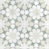 Granada stone mosaic waterjet field shown in Heavenly Cream honed, Cloud Nine, Ming Green, Carrara and Thassos polished. Paul Schatz for New Ravenna Mosaics.