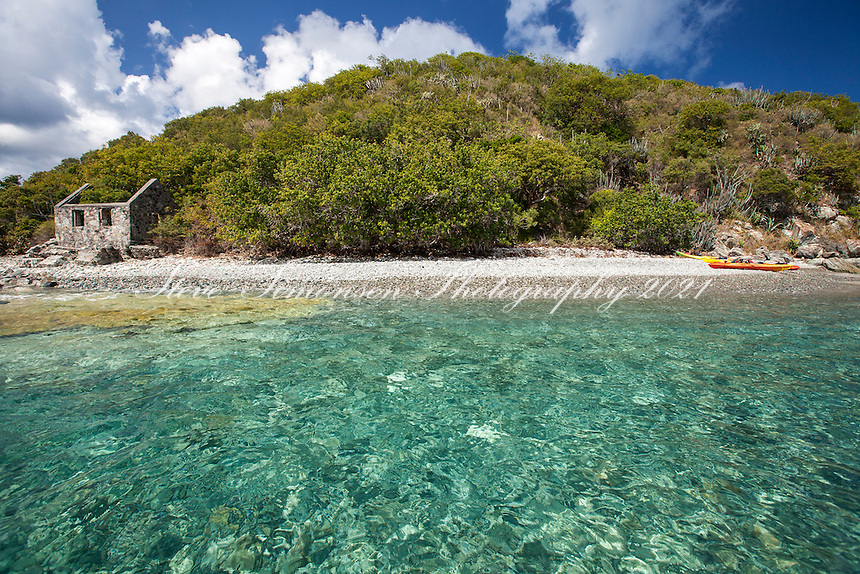 The old customs house and kayaks<br /> Whistling Cay<br /> U.S. Virgin Islands