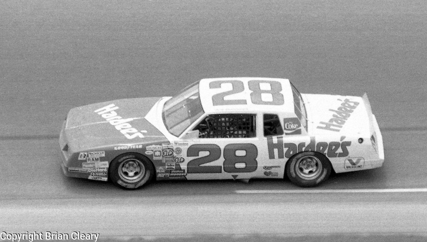 Cale Yarborough 28 action Firecracker 400 at Daytona International Speedway in Daytona Beach, FL on July 4, 1983. (Photo by Brian Cleary/www.bcpix.com)