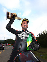 Oct 2, 2016; Mohnton, PA, USA; NHRA pro stock motorcycle rider Eddie Krawiec  celebrates after winning the Dodge Nationals at Maple Grove Raceway. Mandatory Credit: Mark J. Rebilas-USA TODAY Sports