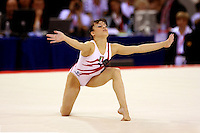 Oct 19, 2006; Aarhus, Denmark; Winner in women's gymnastics All-Around competition is Vanessa Ferrari of Italy (gold). Here Ferrari competes on floor exercise.  Mandatory Credit: Photo by Tom Theobald/ ZUMA Press. Copyright 2006 by Tom Theobald