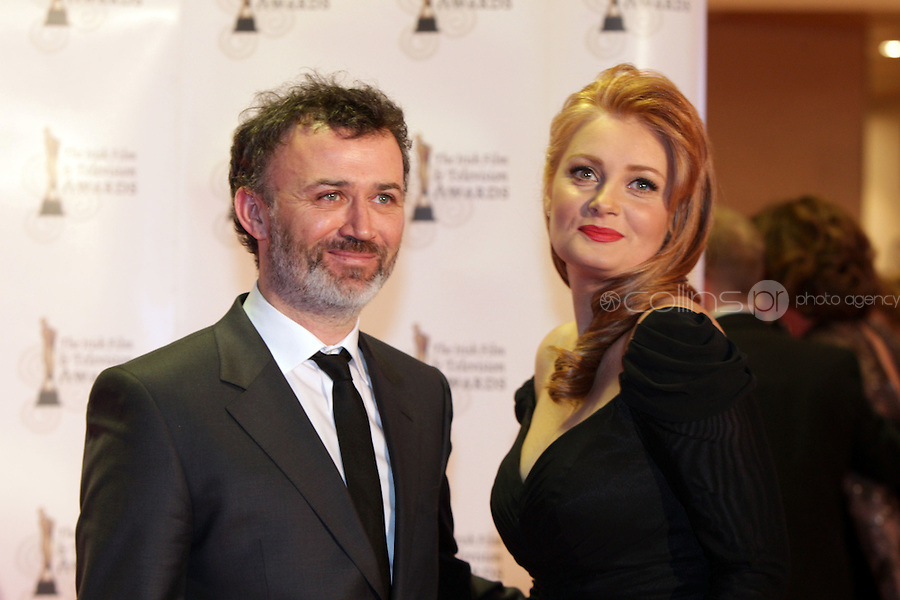 12/2/11 Tommy Tiernan and wife Yvonne on the red carpet at the 8th Irish Film and Television Awards at the Convention centre in Dublin. Picture:Arthur Carron/Collins