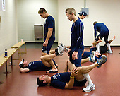 The Maine players stretch prior to the game. - The Boston College Eagles defeated the visiting University of Maine Black Bears 4-0 on Friday, November 19, 2010, at Conte Forum in Chestnut Hill, Massachusetts.