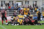 12. Spieltag GFL 2014/2015 Munich Cowboys - Rhein-Neckar Bandits Dantestadion am 23.08.2014.<br /> <br /> Im Bild Rudelbildung. im Spiel der GFL Munich Cowboys - Rhein Neckar Bandits.<br /> <br /> Foto &copy; P-I-X.org *** Foto ist honorarpflichtig! *** Auf Anfrage in hoeherer Qualitaet/Aufloesung Belegexemplar erbeten Veroeffentlichung ausschliesslich fuer journalistisch-publizistische Zwecke For editorial use only.