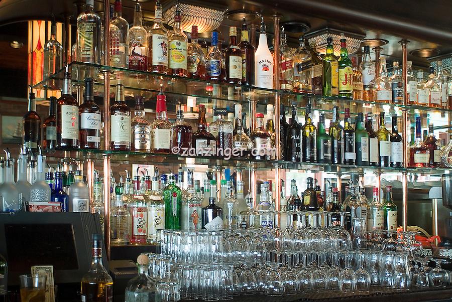 Irish Pub, San Francisco, CA, Fisherman's Wharf, District, Bar stacked with Wiskey Bottles, Glasses High dynamic range imaging (HDRI or HDR)