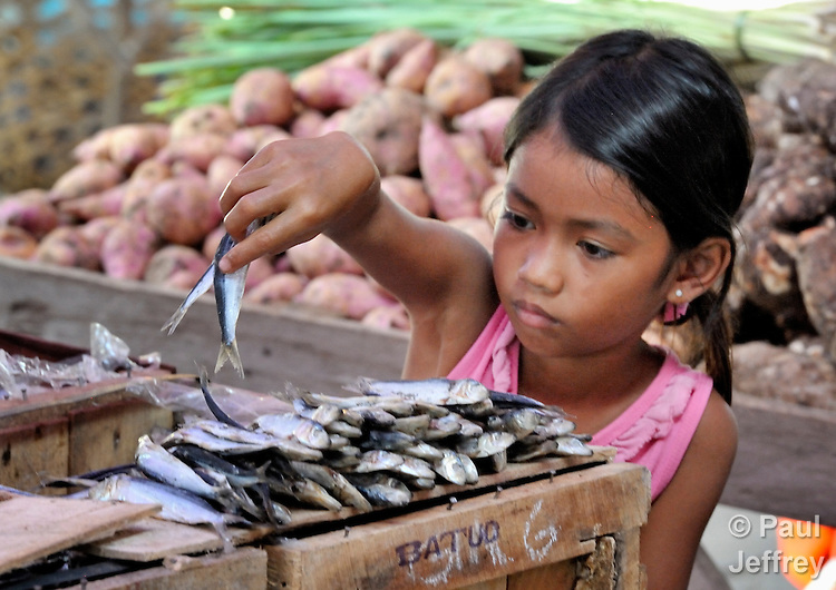 A girl arranges fish for sale in a market in Lupon, a small town on the southern island of Mindanao in the Philippines.