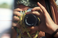 Self portrait with camera. Wixarika (Huichol) community in the Sierra Madre Occidental, Mexico