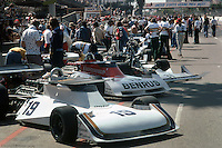 LONG BEACH, CA - MARCH 28: The Surtees TS19/Ford Cosworth cars in the pit lane before practice for the United States Grand Prix West on March 28, 1976, on the Long Beach temporary street course in Long Beach, California.