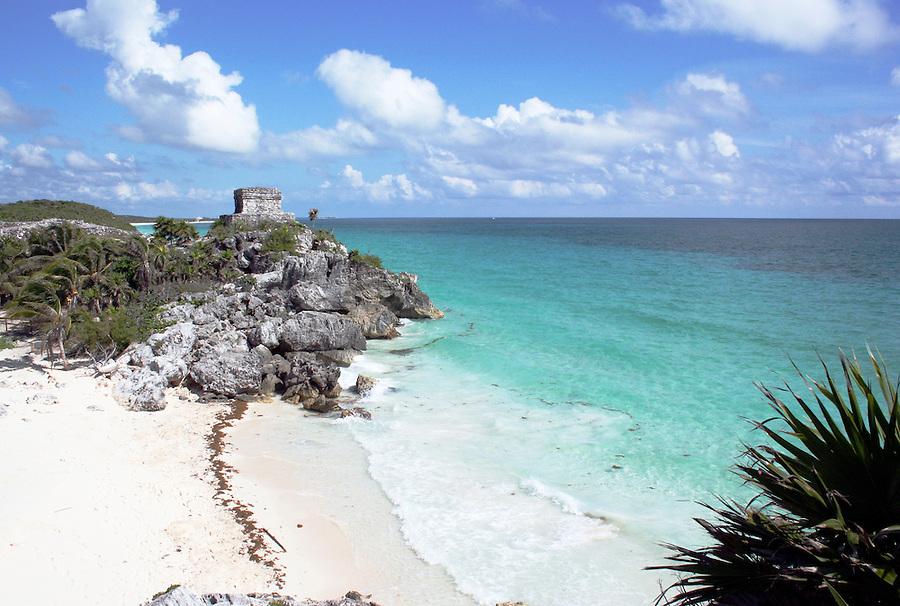 Mayan ruins at Tulum Mexico near beach