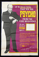 BNPS.co.uk (01202 558833)<br /> Pic: Burstow&amp;Hewett/BNPS<br /> <br /> Psycho poster from the 1960's.<br /> <br /> A late film buff's collection of 400 vintage movie posters has emerged for auction and is tipped to sell for &pound;15,000.<br /> <br /> The collection was amassed by a man who worked for several decades at the Marble Arch Odeon cinema in London which in its heyday was one of the capital's flagship cinemas.<br /> <br /> He sadly died a couple of years ago but bestowed the posters - which once were on display in the cinema - to a life-long friend who has decided to put them on the market.<br /> <br /> Many of the posters are from classic film franchises including Star Wars and James Bond as well as iconic Disney films such as Snow White and the Seven Dwarfs and Cinderella.