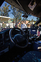 Sderot, Israel, Jan 06, 2009.A Kassam rocket has hit a busy street causing damage to 2 minibuses, fortunately without casualties, as everybody took shelter upon hearing the alert. After several weeks of total closure, Israel has launched its most important military operation ever in the Gaza strip, following Hamas' refusal to extend the 6 months truce.