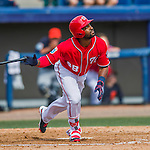 5 March 2016: Washington Nationals outfielder Brian Goodwin hits a sacrifice fly to score the tying run in the 5th inning of a Spring Training pre-season game against the Detroit Tigers at Space Coast Stadium in Viera, Florida. The Nationals defeated the Tigers 8-4 in Grapefruit League play. Mandatory Credit: Ed Wolfstein Photo *** RAW (NEF) Image File Available ***