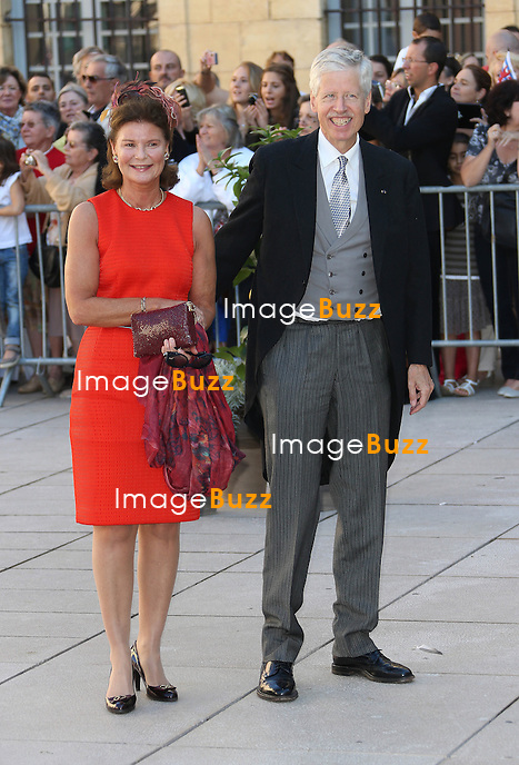 Princess Margaretha Of Liechtenstein and Prince Nikolaus Of Liechtenstein attend the Religious Wedding Of Prince Felix Of Luxembourg and Claire Lademacher at the Basilique Sainte Marie-Madeleine on September 21, 2013 in Saint-Maximin-La-Sainte-Baume, France.