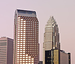 This is the uptown Charlotte skyline at dusk. The Charlotte NC skyline is one of the the best of any southern city and makes for a great photo. These recent photos of the skyline show some of the buildings in the skyline.