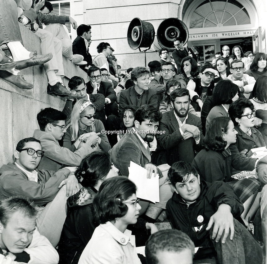 "Students at University of California at Berkeley,Ca sit-in at Wheeler Hall, part of ongoing ""free speech"" protests at the University. (1964 photo by Ron Riesterer)"