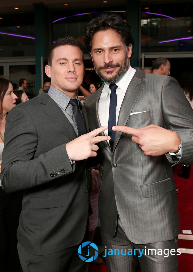 """Actors Channing Tatum and Joe Manganiello attend the premiere of """"Magic Mike"""" at Regal Cinemas L.A. Live on Sunday June 24, 2012 in Los Angeles. (Photo by Todd Williamson/Invision/AP)"""