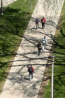 Overhead view of a walkway on Bascom Hill on the University of Wisconsin-Madison campus, with shadows cast by tree branches during spring, seen from atop Van Vleck Hall.<br /> <br /> Client: University of Wisconsin-Madison<br /> &copy; UW-Madison University Communications 608-262-0067<br /> Photo by: Michael Forster Rothbart<br /> Date: 5/03    File#:   D100 digital camera frame 6330.