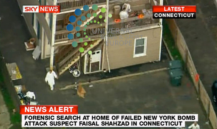 The FBI searches the Connecticut home of a man accused of a driving a car bomb into New York's Times Square over the weekend. FBI special agent in charge Kimberly Mertz said Tuesday morning that the public is safe. Mertz says her team executed a search warrant at the Bridgeport home. She says the search was related to the Times Square investigation. But she wouldn't answer questions about it. U.S. officials say car bomb suspect Faisal Shahzad was taken into custody late Monday by FBI agents and New York Police Department detectives while trying to leave the country...4 May  2010: Universal News and Sport (Europe)Sky.All pictures must be credited to  www.universalnewsandsport.com. (0ffice) 0844 884 51 22.(Universal News does not claim any Copyright or License in the attached material. Any downloading fee charged by Universal News and Sport is for Universal News services only. We are advised that screen images should not be used more than 48 hours after the time of original transmission, without the consent of the copyright holder).